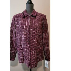 TanJay Burgundy Suede Jacket  Full Zip  Women 14